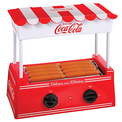 Nostalgia HDR8CK Coca-Cola Hot Dog Warmer 8 Regular Sized, 4 Foot Long and 6 Bun Capacity, Stainless Steel Rollers, Perfect For Breakfast Sausages, Brats, Taquitos, Egg Rolls