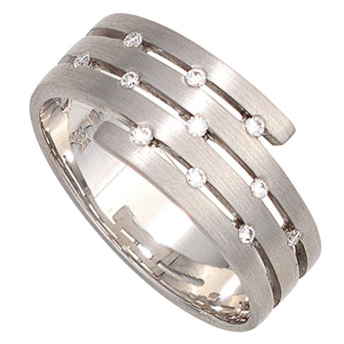 Schmuck-Krone - Goldschmuck FINERING - Anello, con Diamante, Oro bianco, misura 14