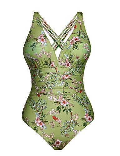 Aibrou Damen Einteiler Badeanzug,Einteilige Bauchweg Bademode Schwimmanzug Schlankheits figurformend Strandmode mit V-Ausschnitt Army Green L