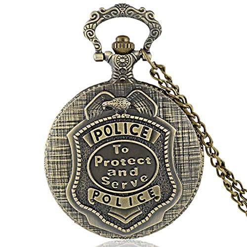 ZYLL Encanto Vintage Bronce Moda Unisex Policía de los Estados Unidos Sirva Cuarzo Steampunk Reloj de Bolsillo Mujer Hombre Collar Colgante Regalos