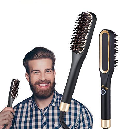 YEAHTOP Cepillo Alisador de Barba Hombre Profesional Multifuncional, Peine Eléctrico Alisador de...