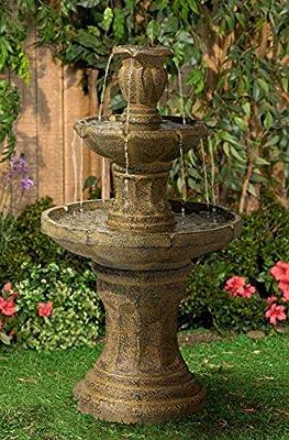 "John Timberland Tuscan Garden Classic Outdoor Floor Water Fountain 41 1/2"" High 3 Tier for Yard Garden Patio Deck Home"