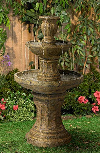 John Timberland Tuscan Garden Classic Outdoor Floor Water Fountain 41 1/2' High 3 Tier for Yard Garden Patio Deck Home