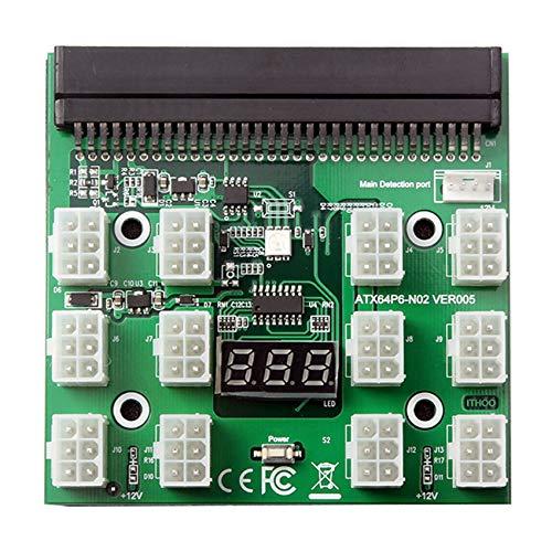 SODIAL Adaptador de Servidor de Fuente de AlimentacióN de 12V con Pantalla LED de 12 Puertos y 6 Pines para 1200W 750W PSU GPU Miner Mining BTC Eth