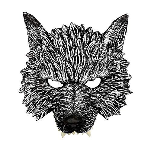 Sangda Halloween-Wolf-Maske, Halbgesicht, Wolfskopf-Maske, weicher PU-Schaum, realistische 3D-Wolfsmaske für Erwachsene und Kinder, gruselige Werwolf-Maske für Festivals, Cosplay, Halloween-Kostüm