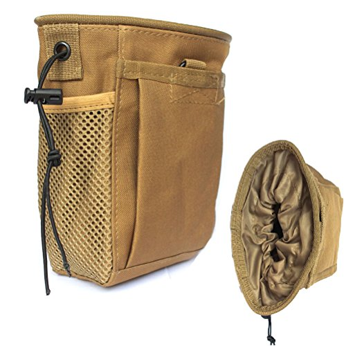 CREATRILL Tactical Molle Drawstring Magazine Dump Pouch, Military Adjustable Belt Utility Fanny Hip Holster Bag Outdoor Ammo Pouch (Brown)