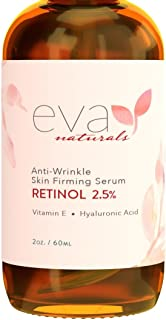 Natural Vitamin A Retinol Serum 2.5%, XL 2 oz. Bottle – Anti-Aging Serum + Vitamin E Oil, Jojoba Oil, Witch Hazel – Hyaluronic Acid Serum for Face Fades Wrinkles, Dark Spots, Damage by Eva Naturals