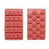 Jingmeizi 2 piezas / Set 18/20 cavidades de silicona para hacer gofres para tartas, galletas, chocolate, molde antiadherente para hornear y hacer tu vida colorida