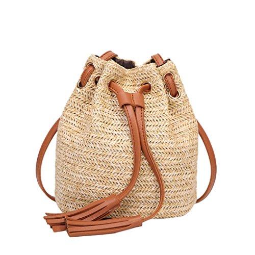 VJGOAL Damen Schultertasche, Damen Mode Boho Einfarbig Hohe Kapazität Weben Strand Reise Quasten Schulter Eimer Tasche (Braun)