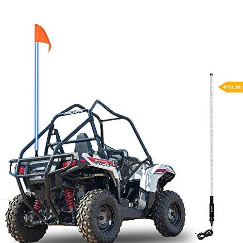 Beatto 4FT(1.2M) Blue LED Whip Light LED Safety Flag Whips Light LED Antenna Light For Off- Road Vehicle ATV UTV RZR Jeep Trucks Dunes