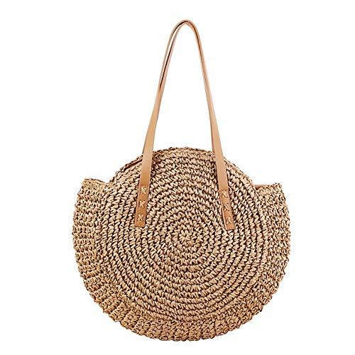 lennonsi Damen Rattan Tasche Handarbeit Umhängetasche Strandtasche Sommer Straw Braided Woven Bag Sling Bag (Kamel)