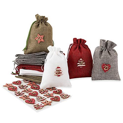 24 sacchetti di iuta per calendario dell'Avvento da riempire, regalo per gli ospiti, sacchetto di iuta, sacchetto in tessuto in 4 colori + set da 1 a 24 numeri in legno e tessuto con adesivi
