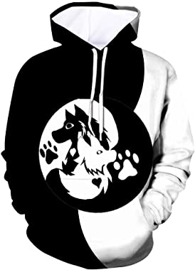 Leewa Men's Hooded Sweatshirt Black White Wolf Lightweight Casual Sports Hooded Pullover Men's Jacket Fashion 2019 Autumn Win