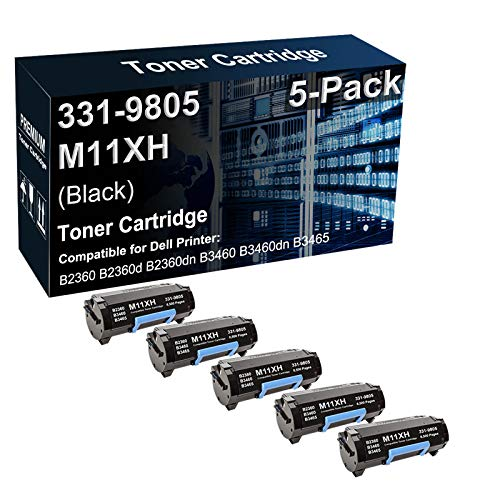 5-Pack Compatible B2360dn B3460dn B3465dn Printer Cartridge Replacement for Dell 331-9805 M11XH C3NTP Toner Cartridge (Black, Texts-Clear)