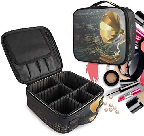 Cosmetische HZYDD Gouden Muziek Kunst make-up tas Toilettas Rits Make-up Tassen Organizer Pouch voor Gratis Compartiment Vrouwen Meisjes tas