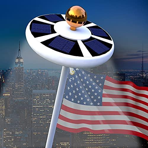 Blinngo Solar Flag Pole Light, Flagpole Solar Light 6V 42 Super-Bright LED Long-Lasting for 15 to 25 Ft Flag Pole Topper, 3 Modes, Auto...
