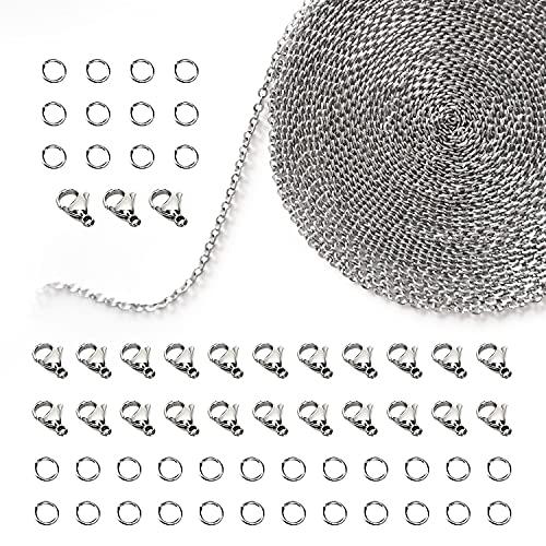 TEEUCNY 12 Metri in Acciaio Inox Collegamento Cavo Catena Inossidabile Catena di Collegamento Collana con 25 Chiusure e 60 Anelli per Uomo e Donna Catena di Gioielli Fai da Te Making, 2.4 mm