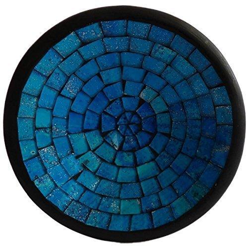 Simandra Mosaikschale Tonschale Glasschale Dekoschale Mosaik Kunsthandwerk Glassteine Deko rund L Color Blau