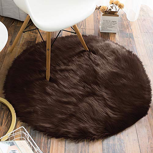 Carvapet Luxury Soft Round Faux Sheepskin Fur Area Rugs Fake Fur Throw Rug Circle Carpet for Bedroom and Living Room, 3ft Diameter, Brown