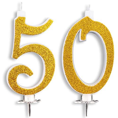 Bougies pour gâteau de fête d'anniversaire, mariage, 50 ans, 50 ans, décoration de bougies, anniversaire, gâteau de 50 ans, décoration de fête à thème, hauteur 13 cm, doré pailleté