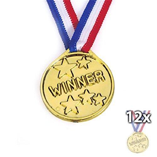 Juego de 12 medallas de plástico, para ganadores de oro olímpico, premios de juguete, regalos para niños y fiestas