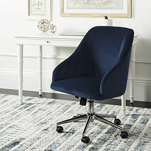 Safavieh Home Adrienne Navy Velvet and Chrome Leg Tufted Swivel Office Chair