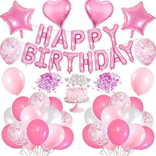 MMTX Geburtstagsdeko Mädchen, Rosa Happy Birthday Girlanden Luftballons mit Folie Herz Ballon und Kuchenaufsätze Geburtstag deko für Geburtstag, Hochzeit, Deko Taufe Mädchen, Partys Dekorationen
