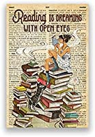 KYASDP 愛読書本ヴィンテージポスター女の子飲むコーヒー辞書キャンバス絵画プリントライブラリ壁アート装飾-50X70Cmフレームなし