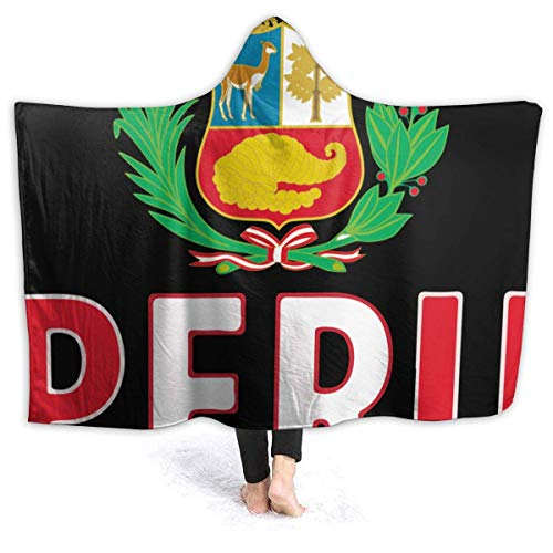 Groefod Peru Flagge Peruanische Decke Herren Kapuze Decke Sherpa Decken für Kinder