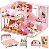 CUTEBEE Puppenhaus Miniatur mit Möbeln, Idee DIY hölzernes Puppenhaus-Kit sowie staubdicht und...