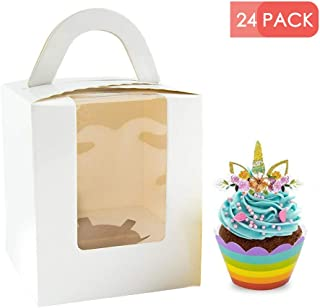 Single Cupcake Boxes with Window, 24pcs Gift Box for cupcake to go for Wedding Decoration, Party Favor, White