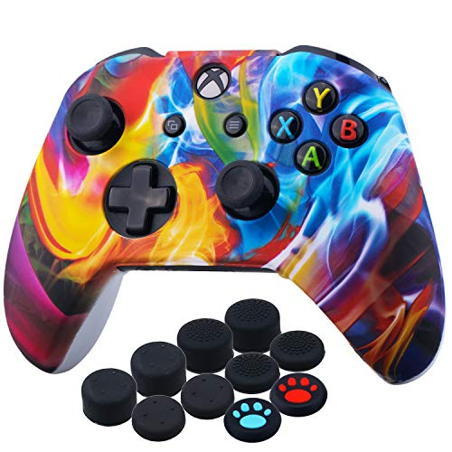YoRHa Printing Rubber Silicone Cover Skin Case for Xbox One S/X Controller x 1(Colourful Stream) with Thumb Grips x 10