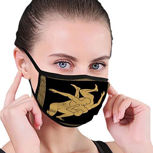NA Waschbare und Wiederverwendbare Gesichtsmundmaske Schutz griechischer Zeichenstil nackte laufende Männer Schild Helm National Ornament Gold schwarzer Hintergrund