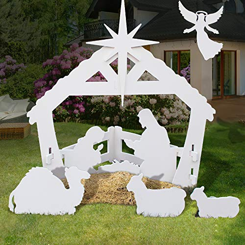 4ft Christmas Holy Family Nativity Scene, Outdoor Yard Decoration w/ Water-Resistant PVC for Outdoor Christmas Decorations