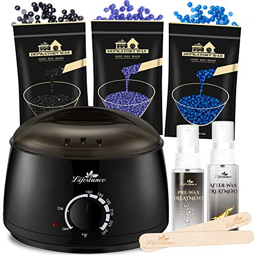 Lifestance Waxing Kit, Design for Sensitive Skin, Wax Warmer Hair Removal for Bikini, Brazilian, Face, Legs, At Home Waxing Kit for Women