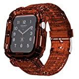 Tomcrazy Transparent Integrated Watch Bands Case for Apple Watch Series 6 /SE/5/4, iWatch 44mm/42mm/40mm/38mm Clear Watch Strap Bumper (Crystal Coffee, 42mm/44mm)