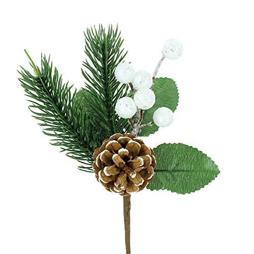 Stefanazzi Pico de Pino navideño de 10 Piezas con piñas y Bayas Decoraciones de árbol de Navidad Ramas Decorativas para una Guirnalda de Centro de Mesa Realista