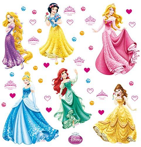 AG Design Disney Prinzessinnen Kinderzimmer Wand Sticker, PVC-Folie (Phtalate-Free), Mehrfarbig, 30 x 30 cm
