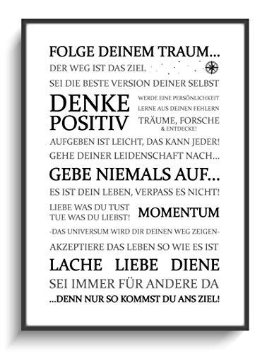 Kunstdruck DIN A4 Motivation Folge Deinem Traum 2 ohne Rahmen Design Schwarz Weiß Modern Wohnung Büro Haus Zuhause Gastgeschenk Lieblingsmensch