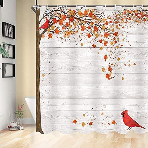 Fall Shower Curtain Farmhouse Decor, Autumn Maple Leaves Cardinal Bird on Gray Wood Country Barn Wall