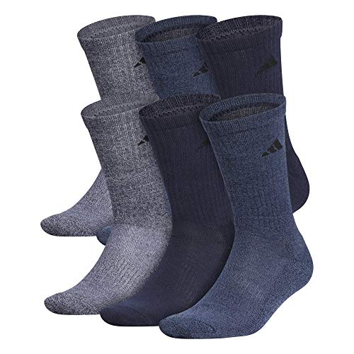 adidas Men's Athletic Cushioned Crew Socks (6-Pair), Legend Ink Blue/Tech Ink Gray Marl, Large