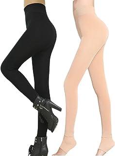 Romastory Winter Warm Women Velvet Elastic Leggings Pants (Black) One Size
