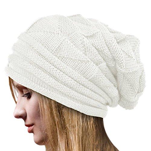 Crochet Invierno Gorro Punto Caliente Cozy Mujeres Grande Sombrero Mod