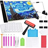 Diamond Painting A4 LED Light Pad Kits 5D Diamond Art Accessories Tool Set, LED Tracing Light Table, Adjustable Brightness with Stand, Roller and Clips