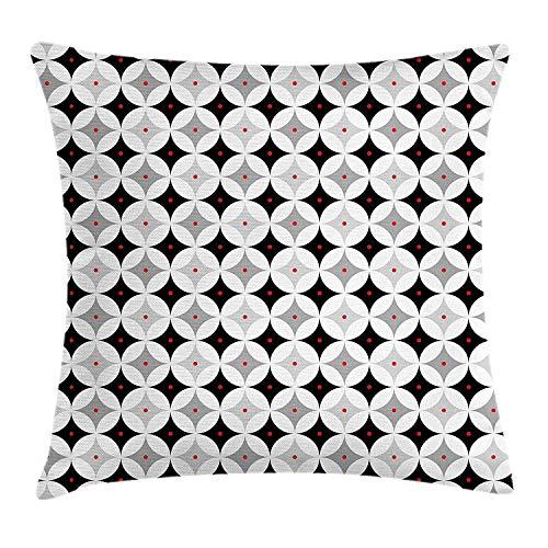 Federa per cuscino in stile retrò con motivo vintage in poliestere, motivo a rombi, motivo decorativo quadrato, colore: grigio chiaro, nero, rosso, dimensioni: 45 x 45 cm