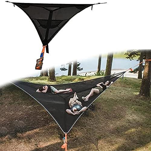 BEDSETS Hamaca de acampada al aire libre, hamaca gigante para acampar – Hamaca multipersona diseño de 3 puntos, tienda de aire para jardín y patio al aire libre (2,8 x 2,8 x 2,8 m), color negro