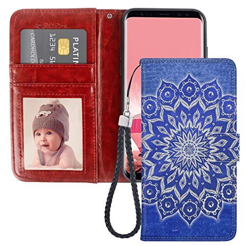Naikuyi Funda tipo cartera con diseño de mandala azul con ranuras para tarjetas, correa de muñeca para Samsung Galaxy S7 Edge modelo para niña y mujer