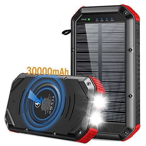 Solar Power Bank 30000mAh, Solar Charger Wireless Portable Charger 18W with 5 Outputs & Type-c Input 4 Lighting Modes Super Bright Flashlight Waterproof Phone Charger for Camping Outdoor