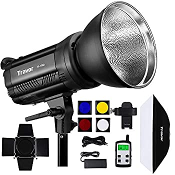 Travor TF-100A Bowens Mount LED Video Light 100W Bi-Color 3200-6500K Continuous Lighting for Video Recording CRI 95+ TLCI 95+with 5 Color Diffusers and Reflector Remote Control for Portrait etc