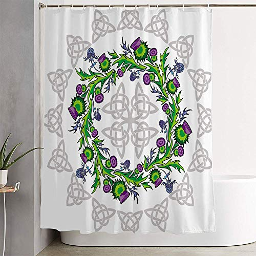 Mmordowr Bathroom Shower Curtain Green Rosette Thistle Flowers Celtic Abstract Irish Pink Circle Floral Painting Head Leaf Ideas Fabric Shower Curtain with Hooks Decorative Bathroom Accessories 60x72